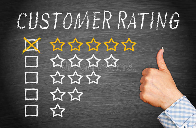 Customer Rating Five Stars stock images