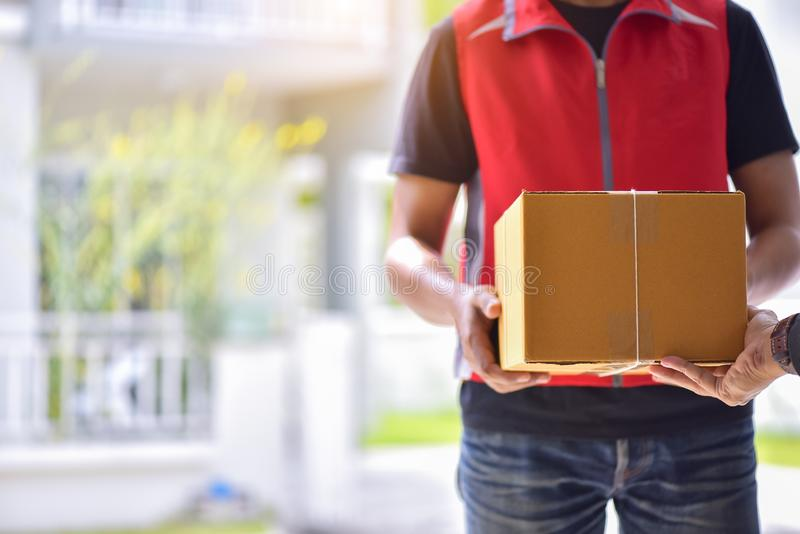 Customer receiving a delivery of boxes pack stock images