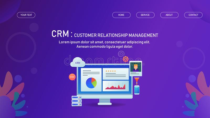 Customer relation management, business management, interaction with customer automatically concept. Customer relation management, cloud computing, business vector illustration