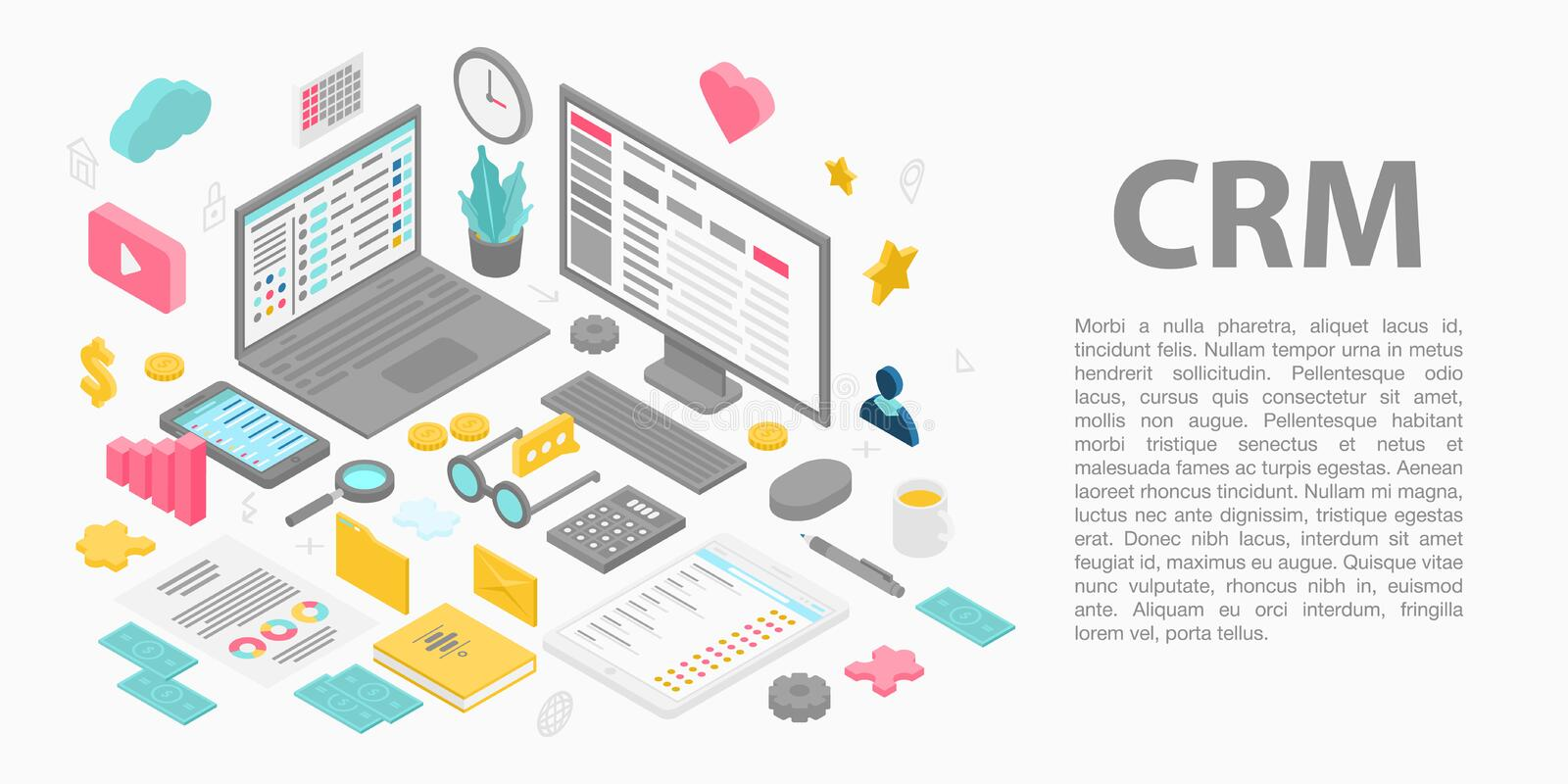 Customer relationship management concept banner, isometric style stock illustration