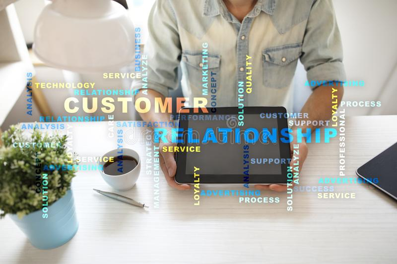 Customer relationship management concept on the virtual screen. Words cloud. Customer relationship management concept on the virtual screen. Words cloud royalty free stock photos