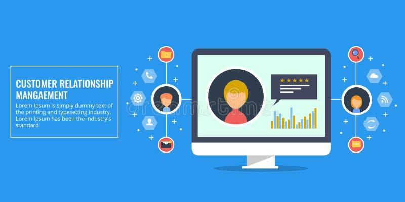 Customer relationship management - concetto del crm Illustrazione piana di vettore di progettazione illustrazione vettoriale