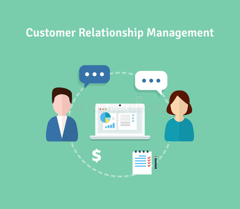 Customer Relationship Management illustration. Flat icons of accounting system, clients, support, deal. Organization of dat royalty free illustration