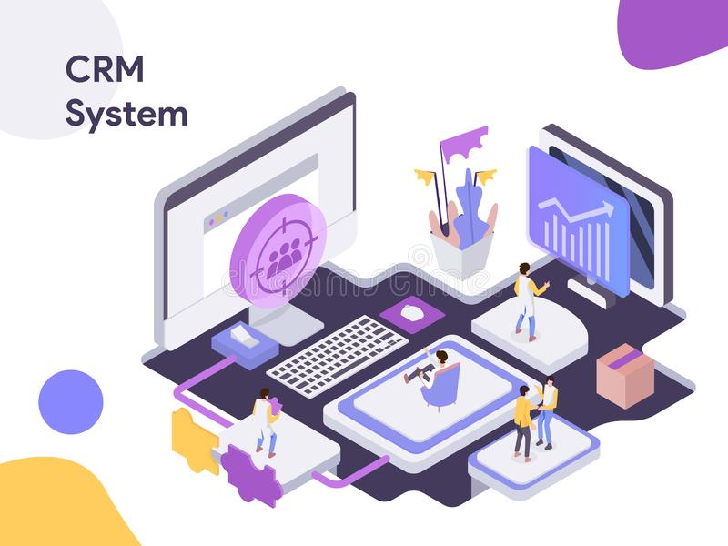 Customer Relationship Management Isometric illustration. Modern flat design style for website and mobile website.Vector. Illustration in EPS10 stock illustration