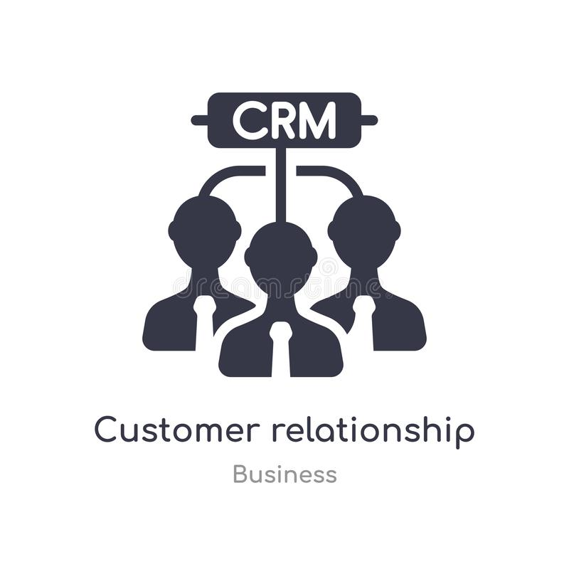 customer relationship management outline icon. isolated line vector illustration from business collection. editable thin stroke royalty free illustration