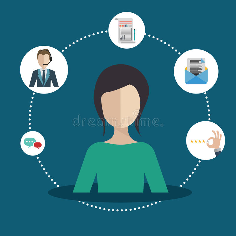 Customer relationship management. Woman presenting customer relationship management. System for managing interactions with current and future customers. Flat royalty free illustration