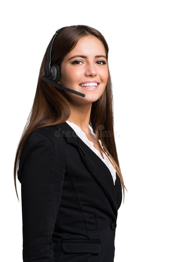 Customer representative portrait isolated on white royalty free stock photo
