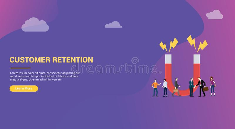 Customer retention concept with big words and team people for website design page or landing homepage banner - vector royalty free illustration