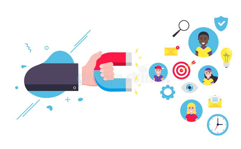 Customer retention concept with hand holding magent, social media elements royalty free illustration