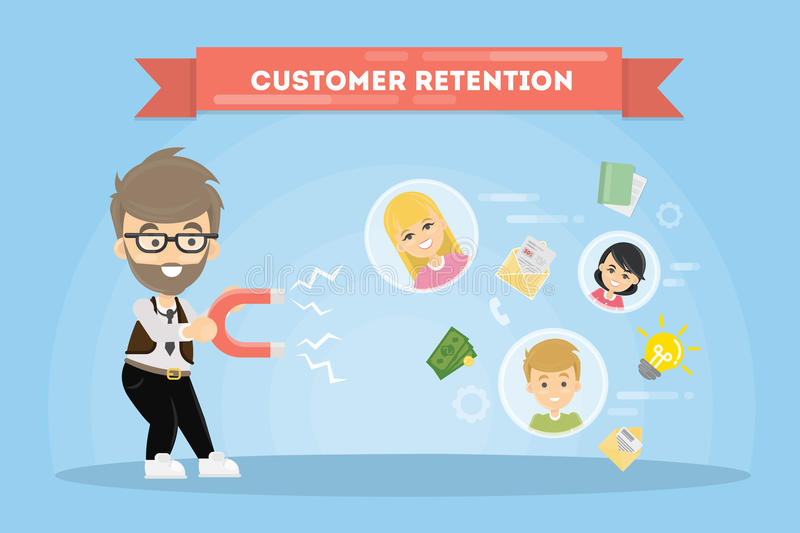 Customer retention concept. Man with magnet tries to appeal clients royalty free illustration