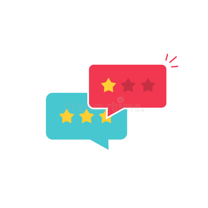 Customer review communication vector symbol, concept of feedback, testimonials, online survey, rating stars. Positive and negative comments, chat bubble stock illustration