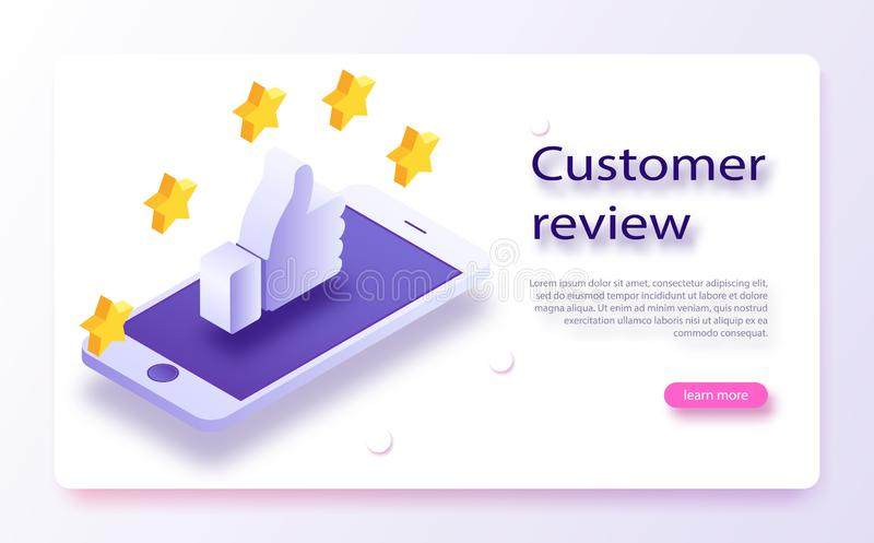 Customer review concept. Feedback, reputation and quality concept. Hand pointing, finger pointing to five star rating. stock illustration