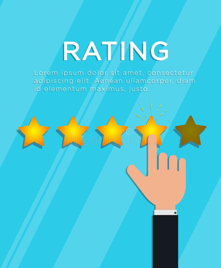 Customer review concept. Hand finger puts 4 out of 5 star rating. Online feedback, support service quality, survey or testimonial. Flat style vector vector illustration