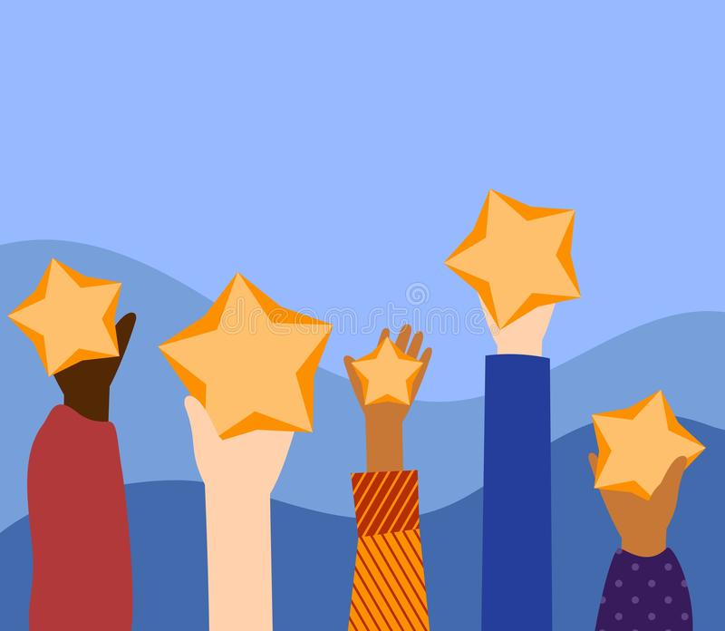 Customer review rating. Feedback consumer evaluation, satisfaction level and critic icon concept. Five stars rating . stock illustration