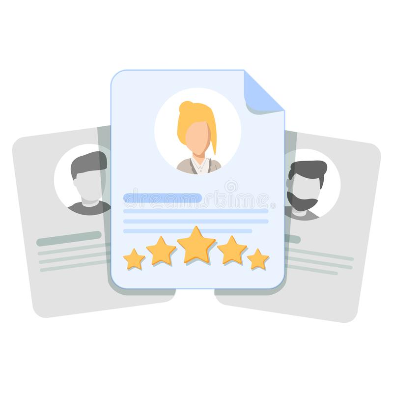 Customer review, user feedback, evaluation of an employee or a candidate for work. Card with human head, rating stars and shot review. Cute cartoon vector illustration