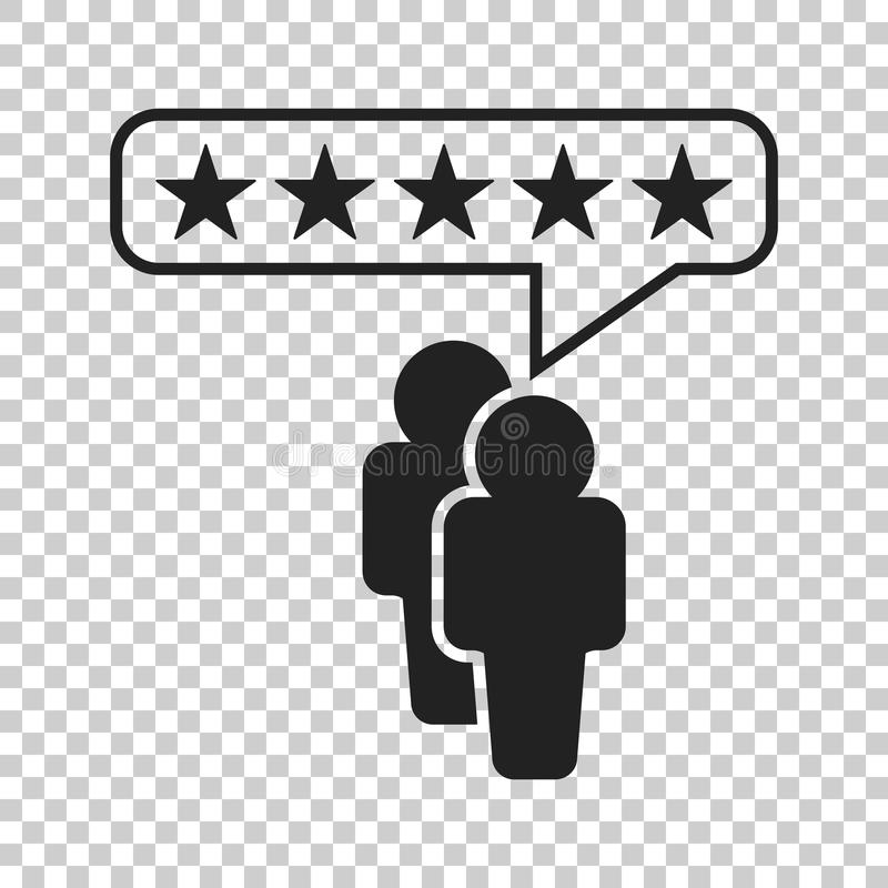 Customer reviews, rating, user feedback concept vector icon. Fla. T illustration on isolated background royalty free illustration