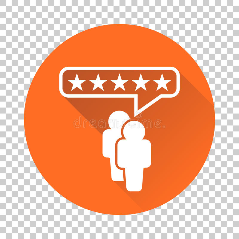 Customer reviews, rating, user feedback concept vector icon. Fla. T illustration on orange background with long shadow stock illustration