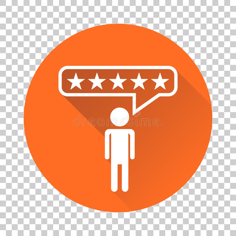 Customer reviews, rating, user feedback concept vector icon. Fla. T illustration on orange background with long shadow vector illustration