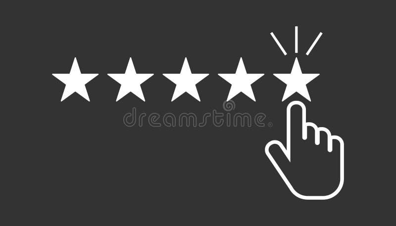 Customer reviews, rating, user feedback concept vector icon. Flat illustration on black background stock illustration