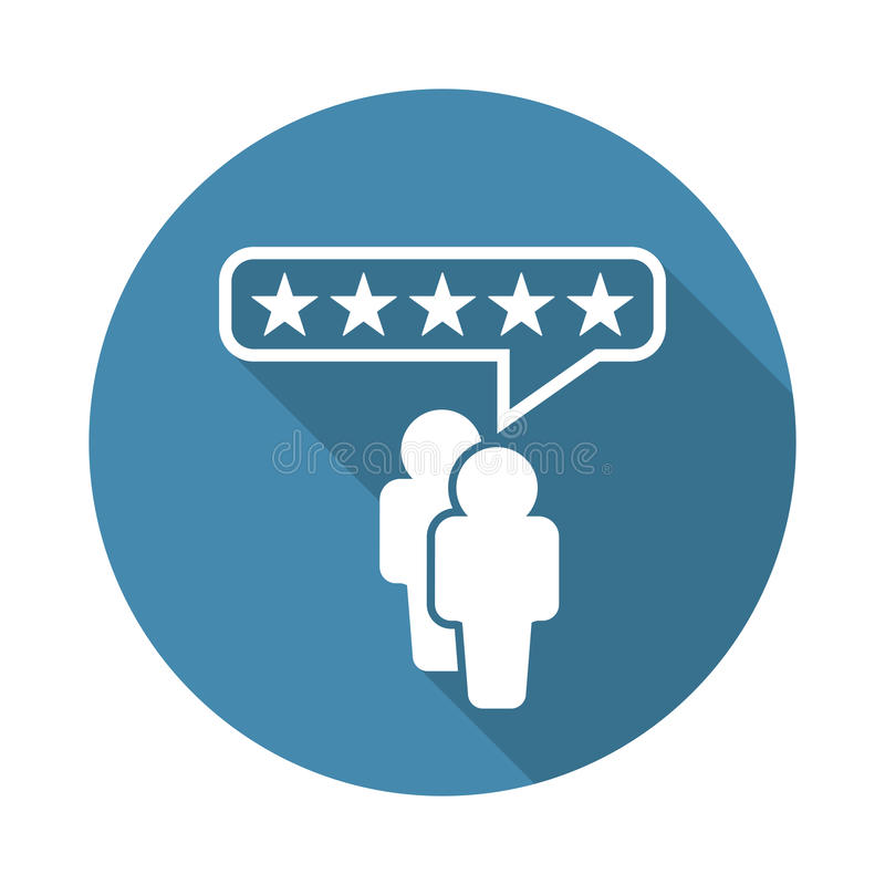 Customer reviews, rating, user feedback concept vector icon. Flat illustration on blue background with long shadow vector illustration