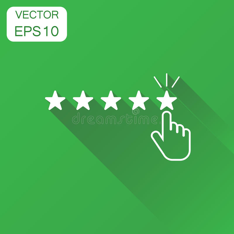 Customer reviews, rating, user feedback icon. Business concept r. Ating pictogram. Vector illustration on green background with long shadow royalty free illustration