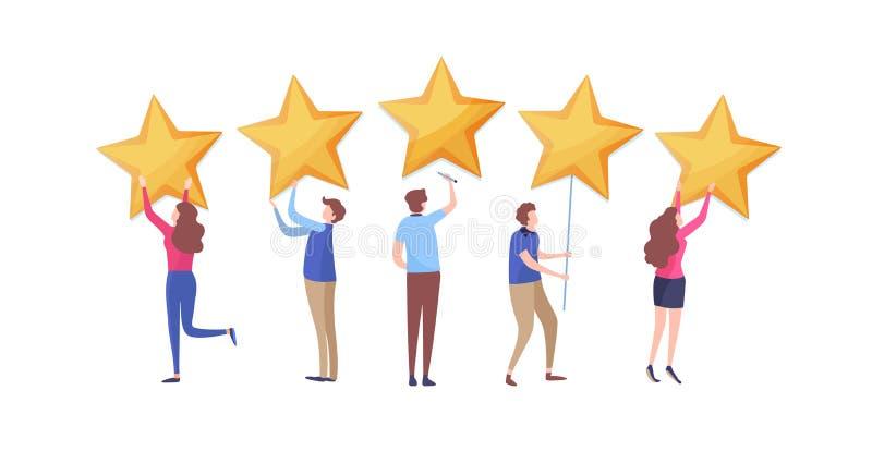 Customer`s giving five star rating. User feedback review scroll. Cartoon illustration vector graphic. Customer`s giving five star rating. User feedback review royalty free illustration