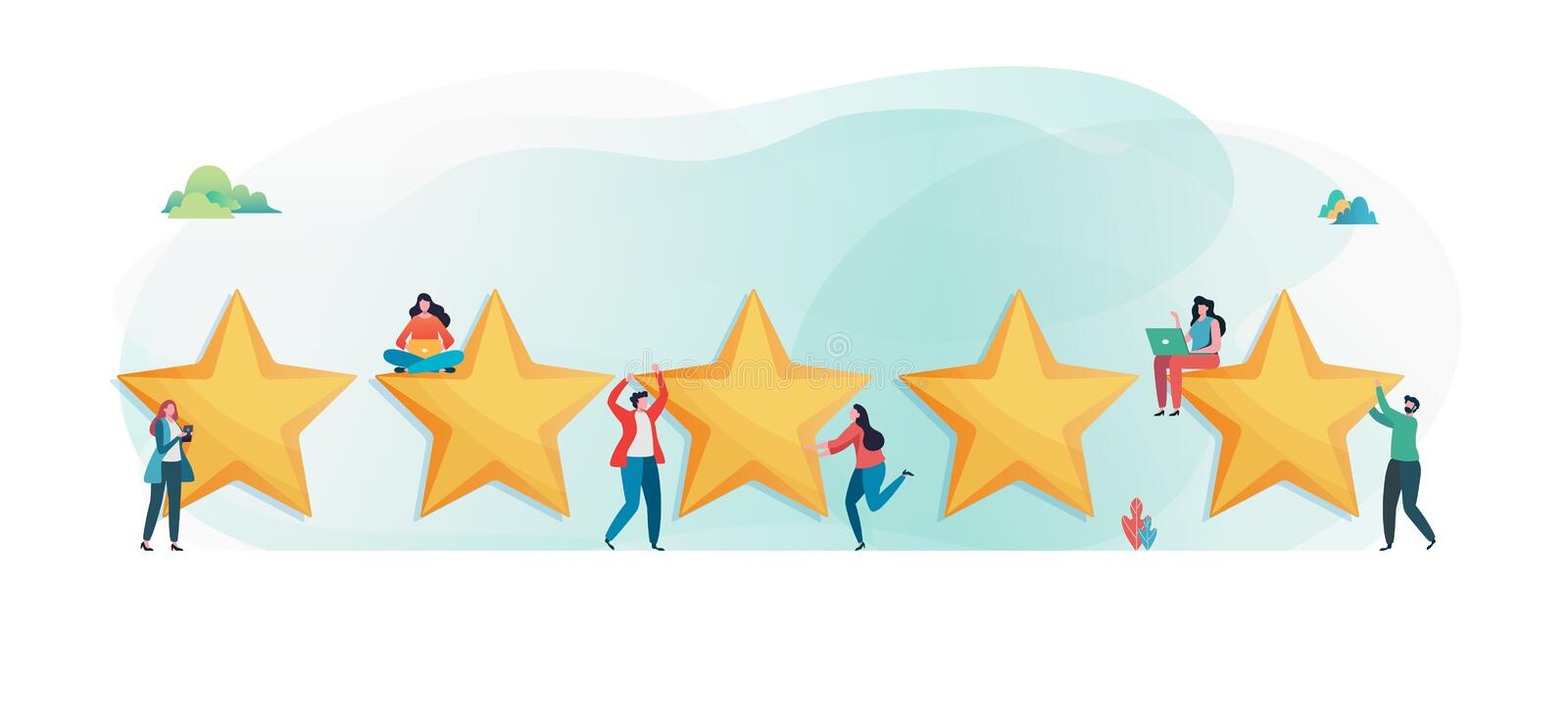 Customer`s giving five star rating. User feedback review scroll. Flat vector illustration modern character design. For a landing page, banner, flyer, poster royalty free illustration