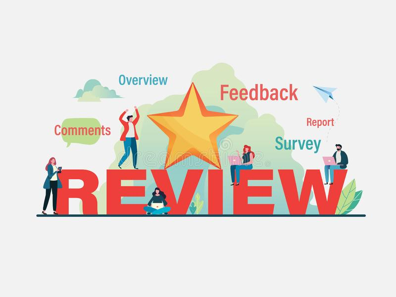 Customer`s giving five star rating. User feedback review scroll. Flat vector illustration modern character design. For a landing page, banner, flyer, poster vector illustration