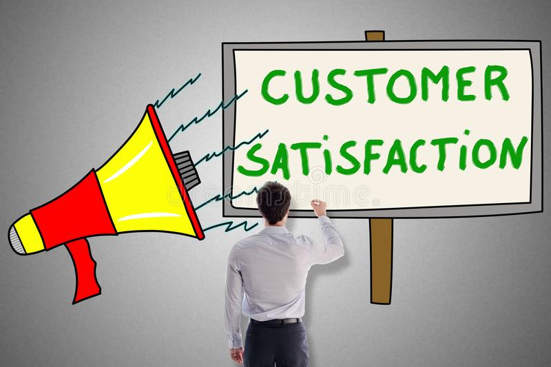 Customer satisfaction concept drawn by a man stock photo
