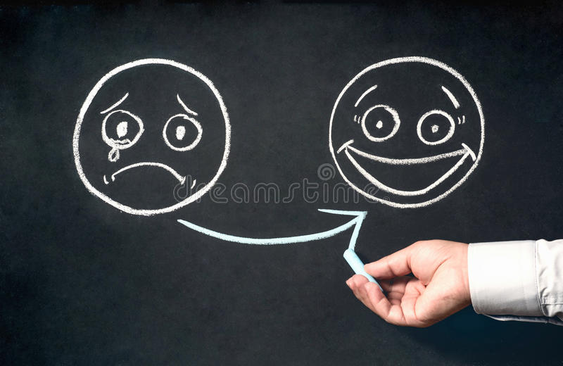 Customer Satisfaction Concept With Sad And Happy Face Sketchs On stock photo