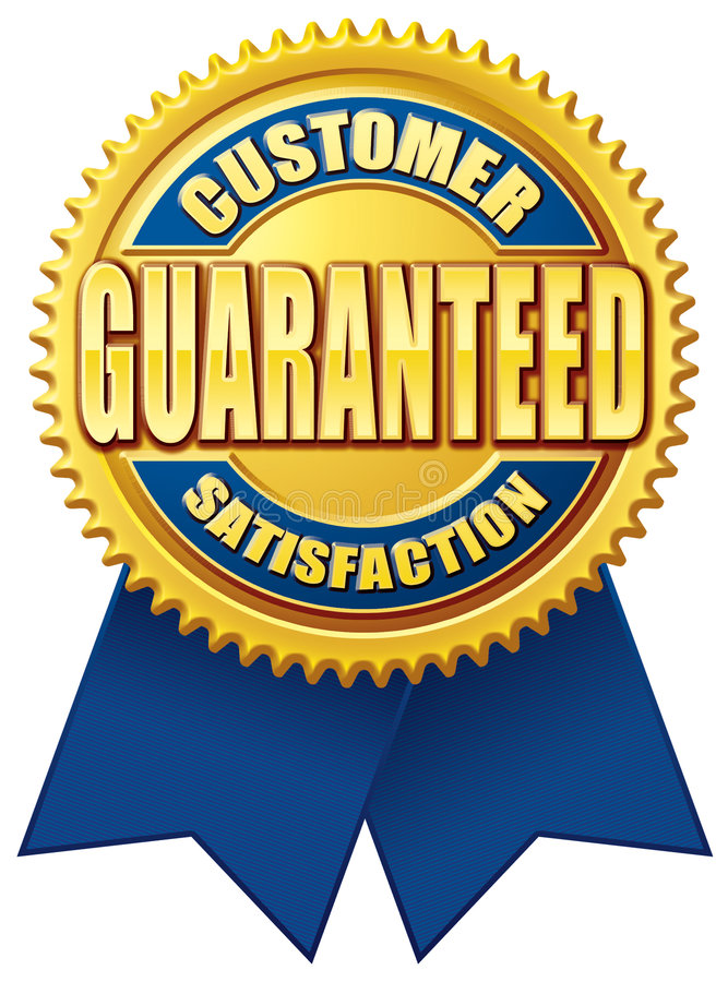 customer satisfaction guaranteed blue gold stock illustration rh dreamstime com 100 satisfaction guaranteed logo vector 100 satisfaction guaranteed logo vector