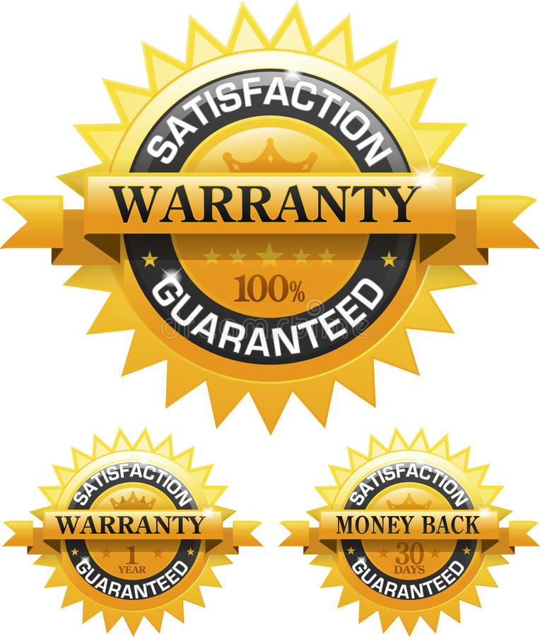 Customer satisfaction guaranteed gold badge stock illustration
