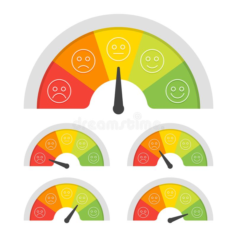 Customer satisfaction meter with different emotions. Vector illustration stock illustration