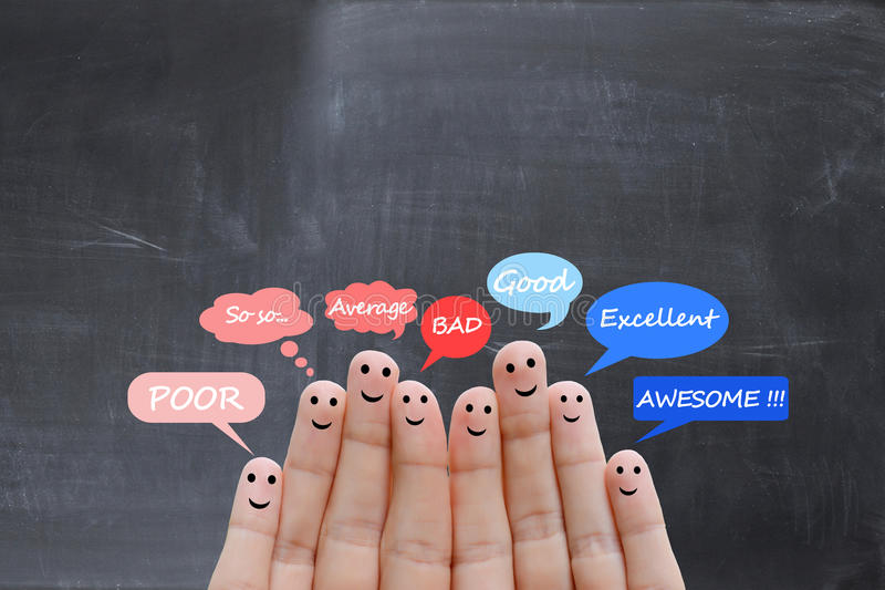Customer satisfaction scale and testimonials concept with happy human fingers. Customer satisfaction scale and testimonials concept with human fingers royalty free stock images
