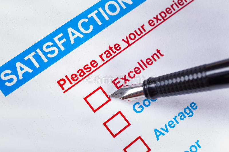 Customer satisfaction survey checkbox with rating and pen pointing at Excellent, can use any business concept background stock image