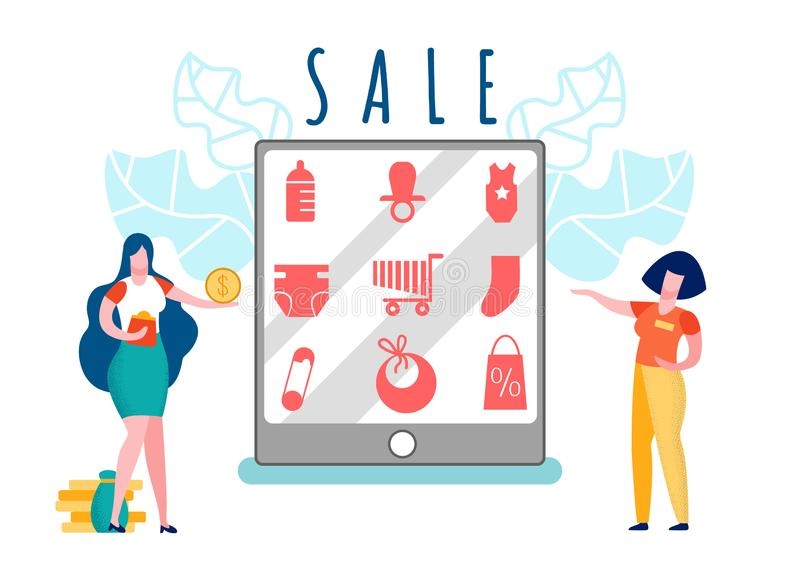 Customer and Seller Cartoon Vector Illustration. Mother Buying Baby Products. Woman Holding Coin. Children Care Items on Tablet Screen. Sale, Special Offer royalty free illustration