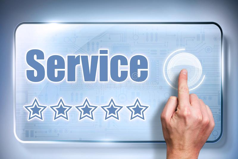 Customer sending a five star rating for good service stock photo