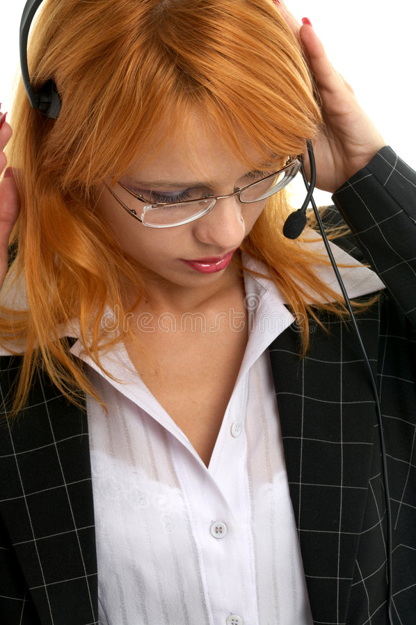 Customer service. Beautiful customer service redhead stock image