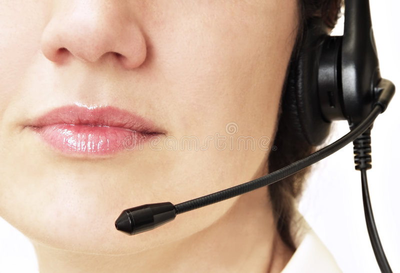Customer service. Lips and microphone