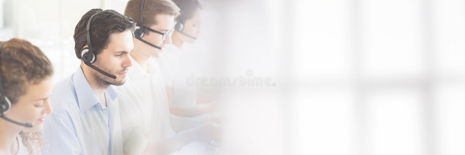 Customer service agents working stock images