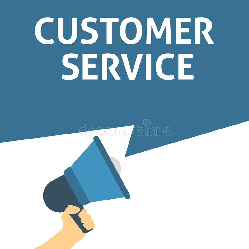 CUSTOMER SERVICE Announcement. Hand Holding Megaphone With Speech Bubble royalty free illustration