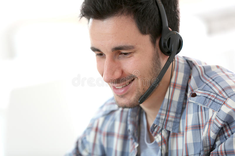 Customer service assistant working. Customer service representative on the phone stock photography
