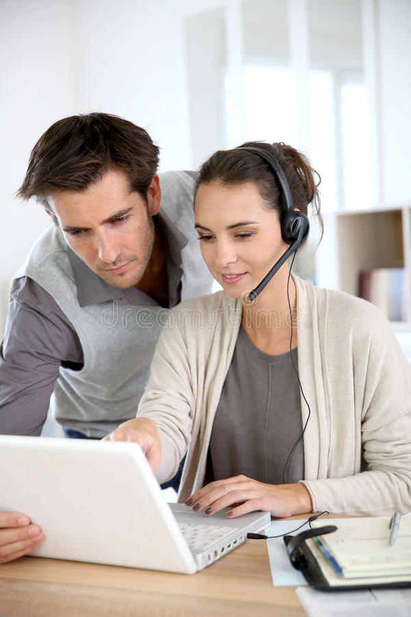 Customer service assistants stock images
