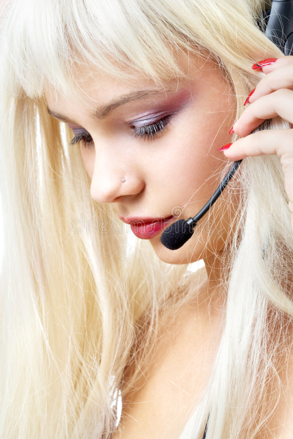 Customer service blond with long hair. Portrait of customer service blond with long hair stock image