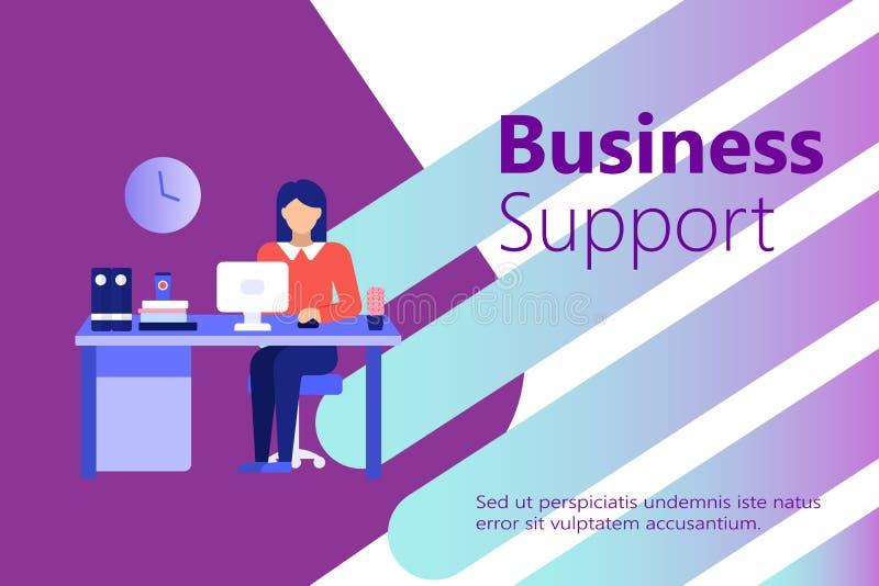 Customer service businesswoman banner. vector illustration