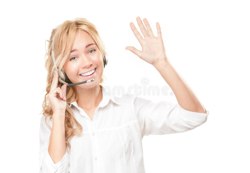 Customer service and call centre operator woman. Portrait of customer service and call centre operator woman isolated on white background. Smiling girl in stock image