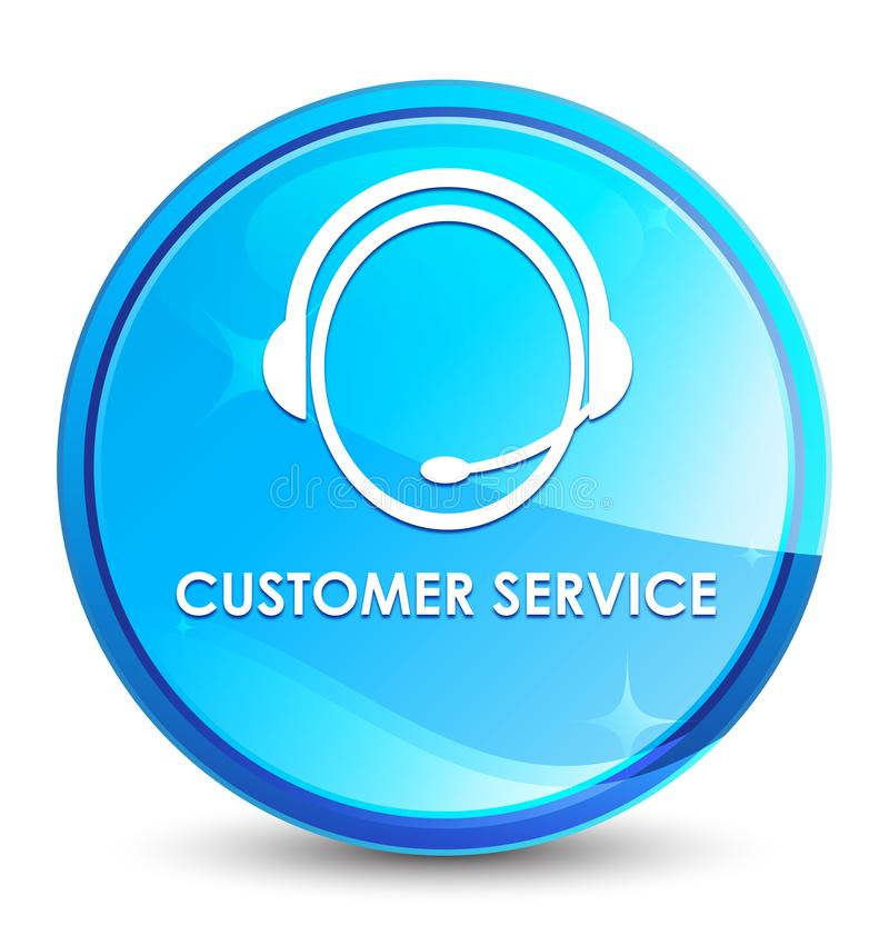 Customer service (customer care icon) splash natural blue round button. Customer service (customer care icon) isolated on splash natural blue round button vector illustration