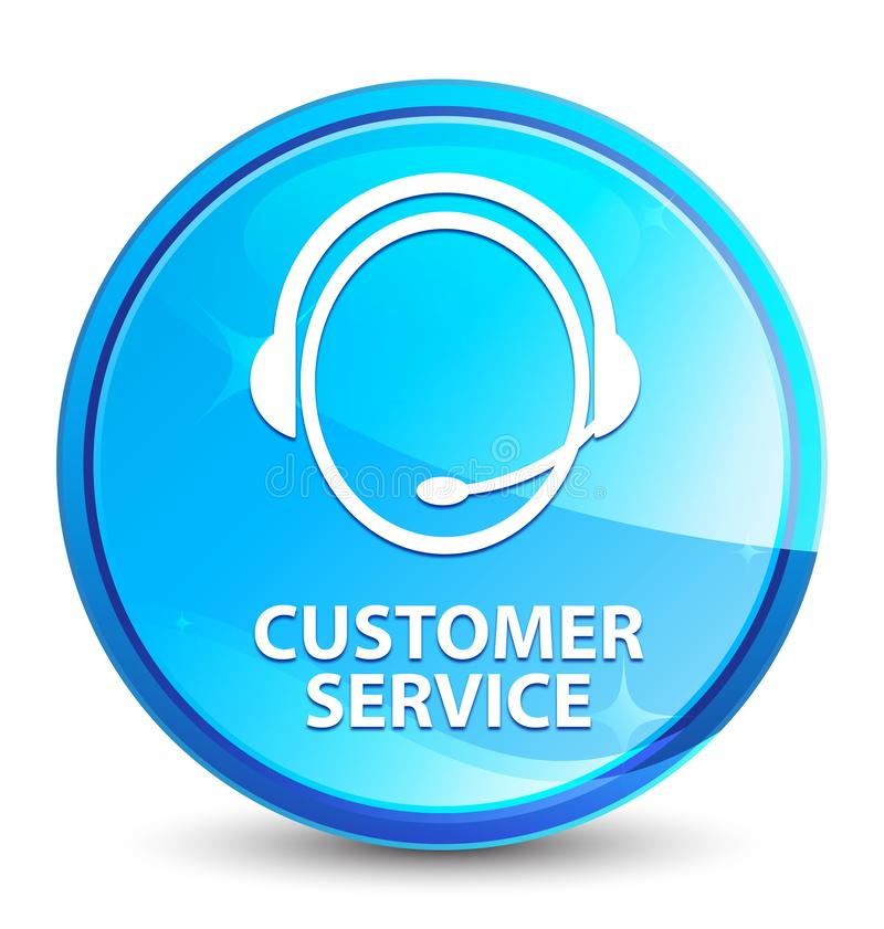Customer service (customer care icon) splash natural blue round button. Customer service (customer care icon) isolated on splash natural blue round button stock illustration