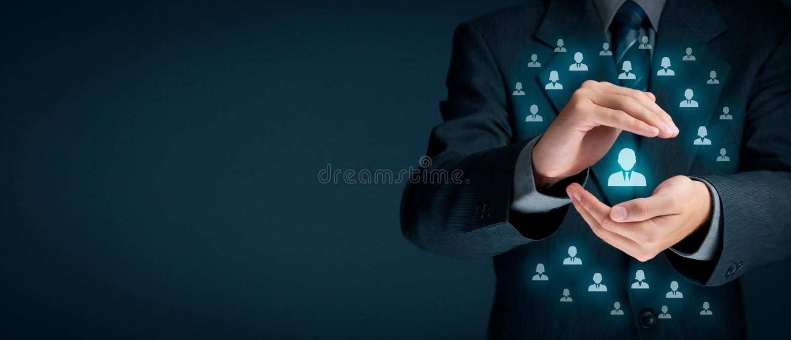 Customer service. And care, patron protection, customer personalization, individual customer, care for employees, CRM, social , customer retention, customer stock image