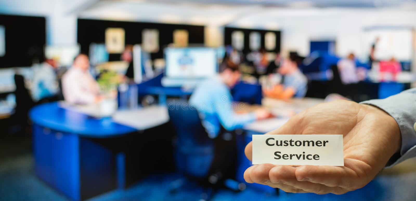Customer service center. Ready for servicing incoming calls from customers royalty free stock photos